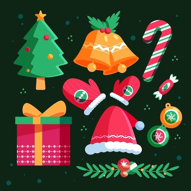 フラットなデザインのクリスマス要素セット 無料ベクター