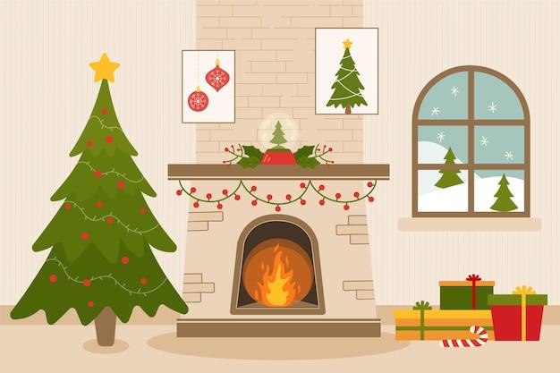 フラットなデザインのクリスマス暖炉のシーン 無料ベクター
