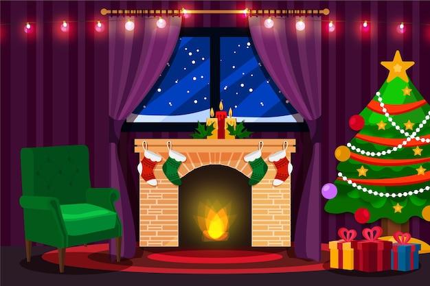 フラットなデザインのクリスマスの暖炉のシーン 無料ベクター