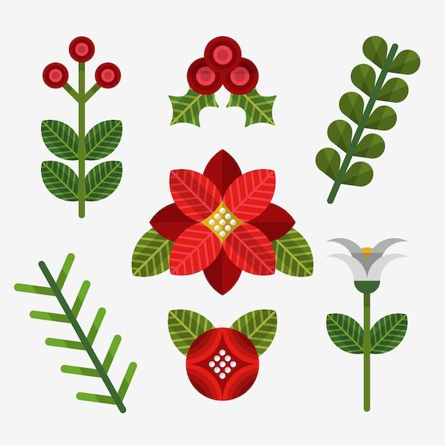 Плоский дизайн рождественская коллекция цветов Бесплатные векторы