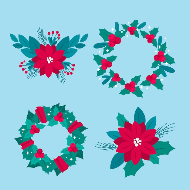 Flat design christmas flower & wreath set Free Vector