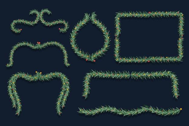 Рождественские рамки и бордюры в плоском дизайне Бесплатные векторы