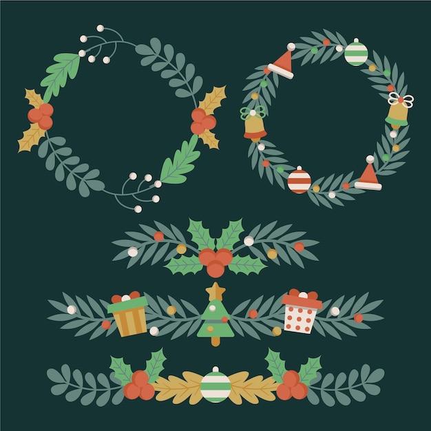 Рождественские рамки и бордюры в плоском дизайне Premium векторы