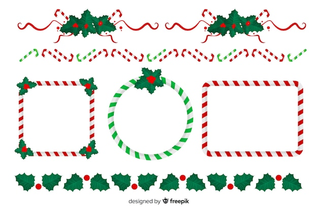Flat design christmas frames and borders collection Free Vector