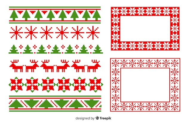 Flat design christmas frames and borders pack Free Vector