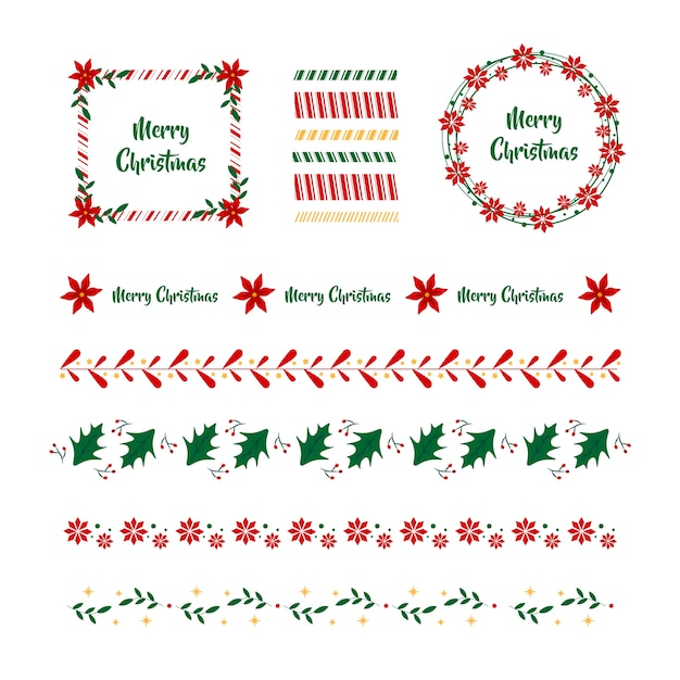 Flat design christmas frames and borders Free Vector