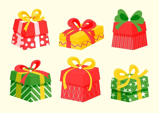 Free Vector Flat Design Christmas Gift Collection