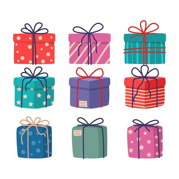 평면 디자인 크리스마스 선물 컬렉션 무료 벡터