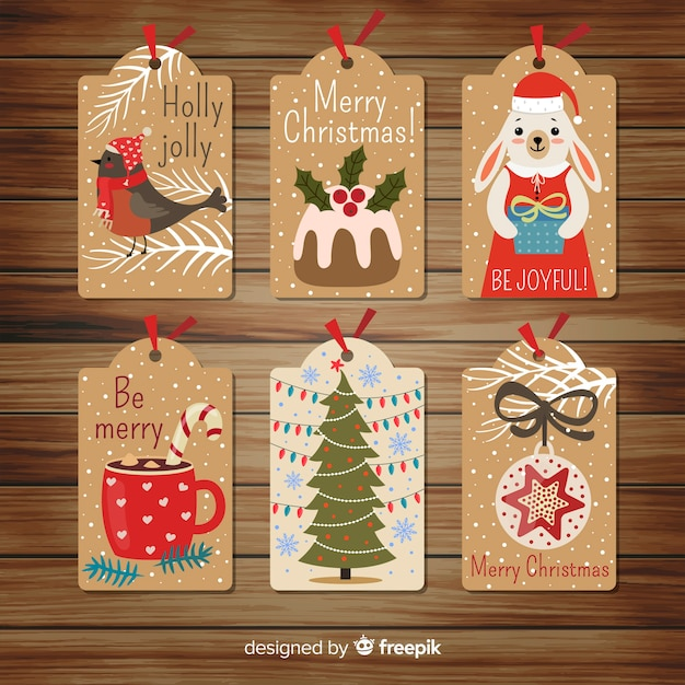 Flat design of christmas label collection Free Vector