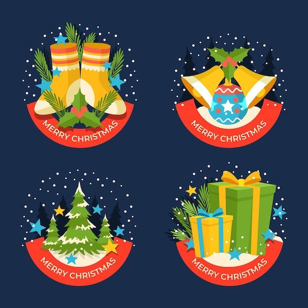 Коллекция рождественских этикеток в плоском дизайне Бесплатные векторы