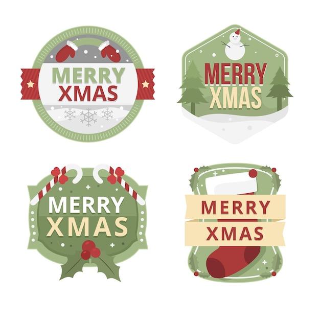 Set di etichette natalizie design piatto Vettore gratuito