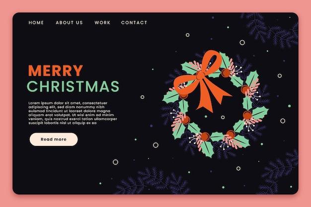 イラスト付きフラットデザインのクリスマスのランディングページテンプレート 無料ベクター