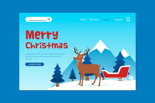 Flat design christmas landing page template Free Vector