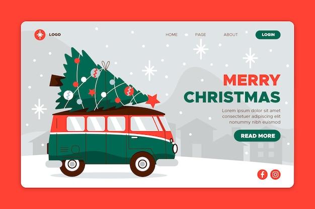 평면 디자인 크리스마스 방문 페이지 템플릿 무료 벡터