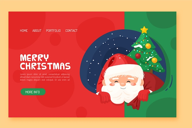 Flat design christmas landing page with santa and tree Free Vector