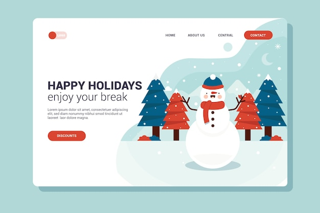 Flat design christmas landing page with snowman Free Vector