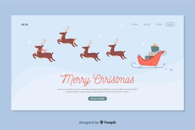 Flat design christmas landing page Free Vector