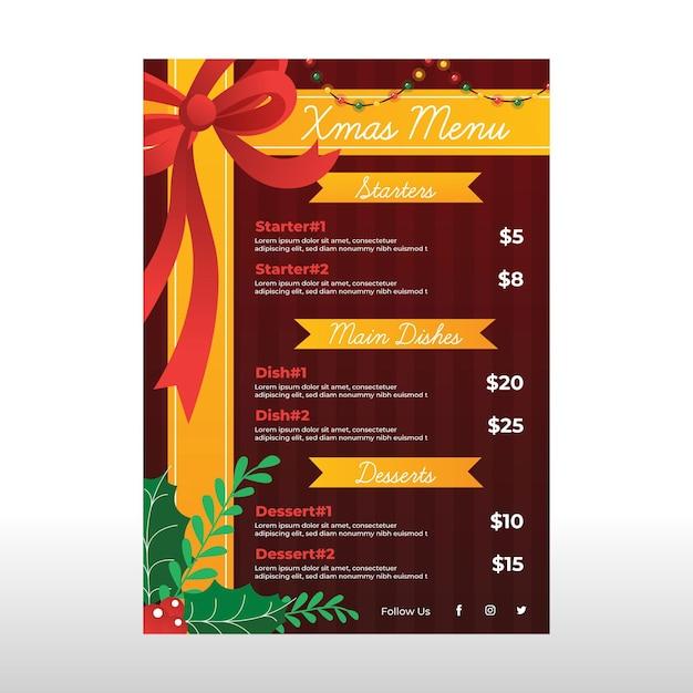 Modello di menu di natale design piatto con fiocco Vettore gratuito