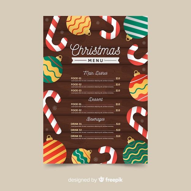 Flat design of christmas menu template Free Vector