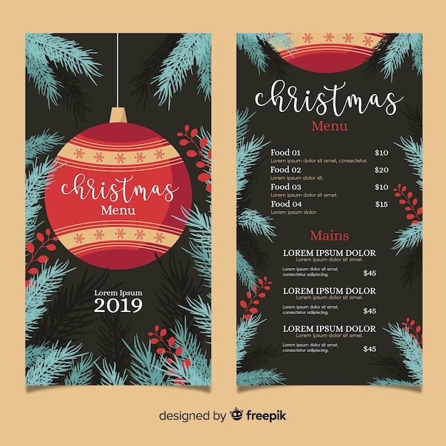 Christmas Save The Date Free Template.Flat Design Christmas Menu Template Vector Free Download
