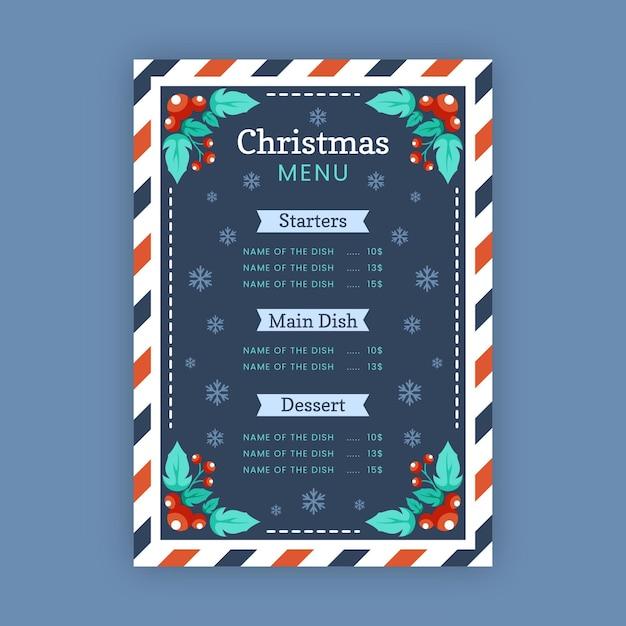 Рождественский шаблон меню в плоском дизайне Premium векторы