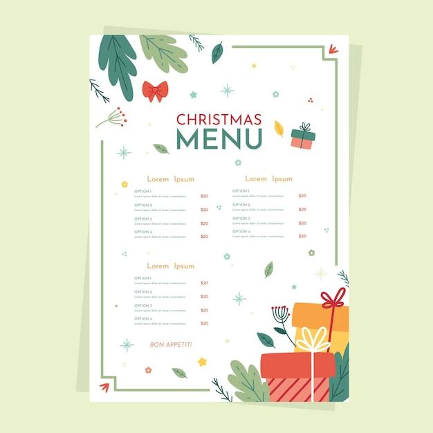 Flat design christmas menu template Free Vector