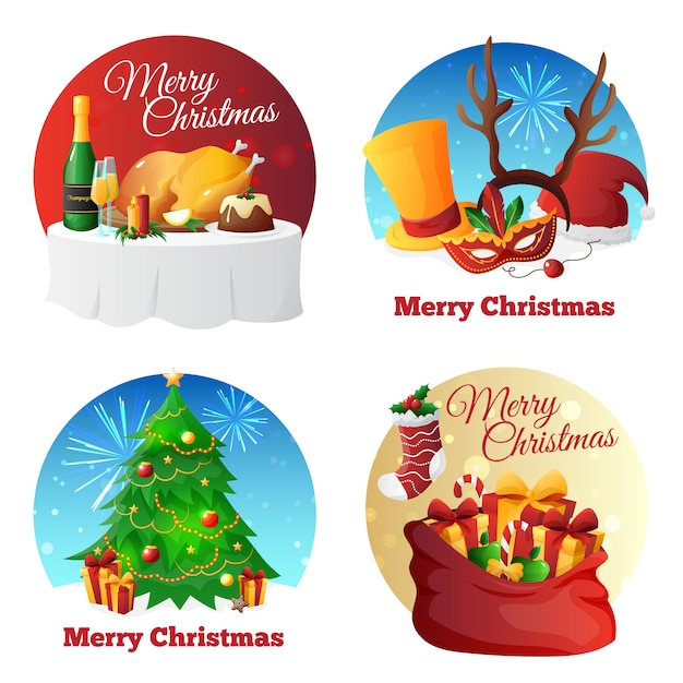 Flat design christmas party icons collection with congratulations presents and dinner Free Vector
