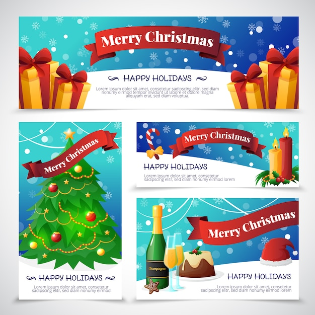 Free Vector Flat Design Christmas Party Invitation Cards