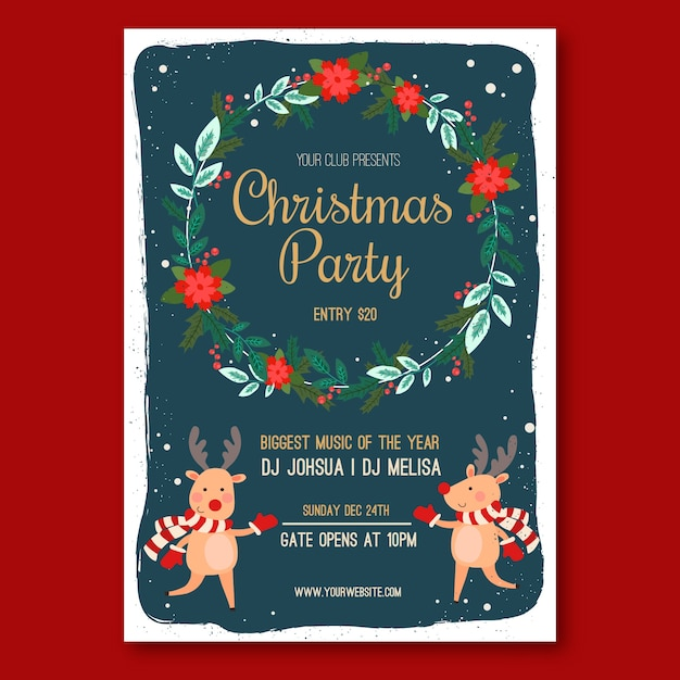 Flat design christmas party poster template Free Vector