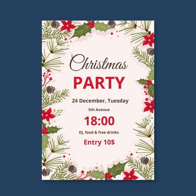 Плоский дизайн шаблона рождественской вечеринки Бесплатные векторы