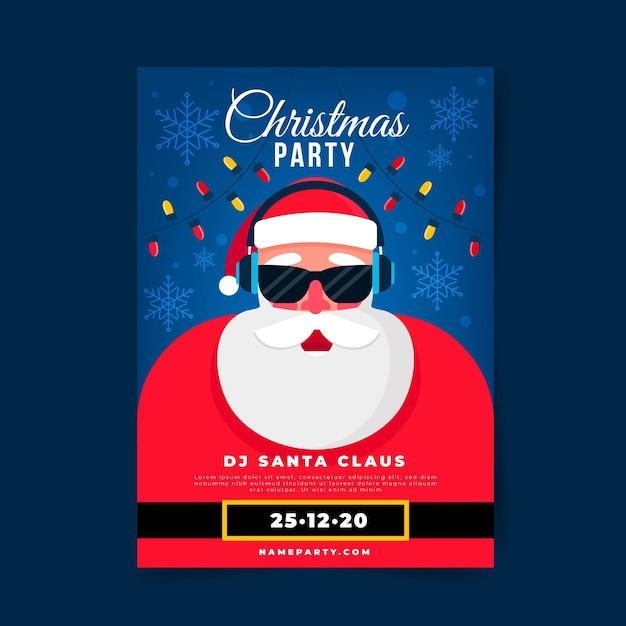 フラットデザインのクリスマスパーティーポスターテンプレート Premiumベクター