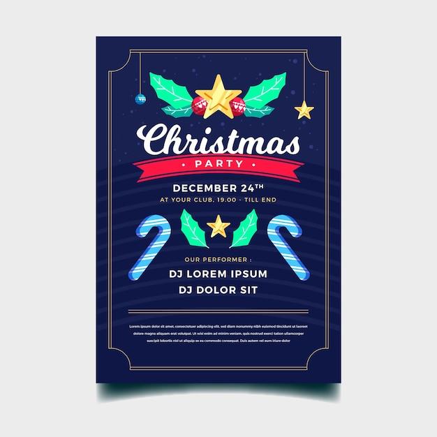 Плоский дизайн рождественской вечеринки Бесплатные векторы