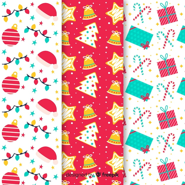 Flat design of christmas pattern collection Free Vector