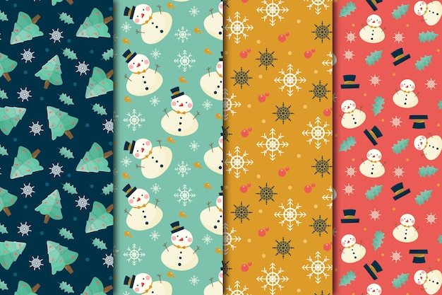 Flat design christmas pattern collection Free Vector