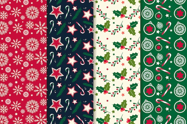 Flat design christmas pattern collection Premium Vector