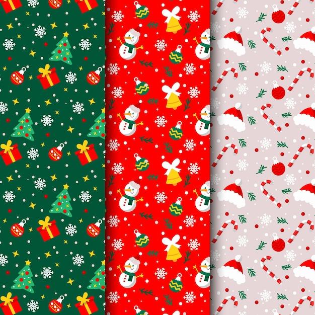 Collezione di pattern natalizi design piatto Vettore gratuito