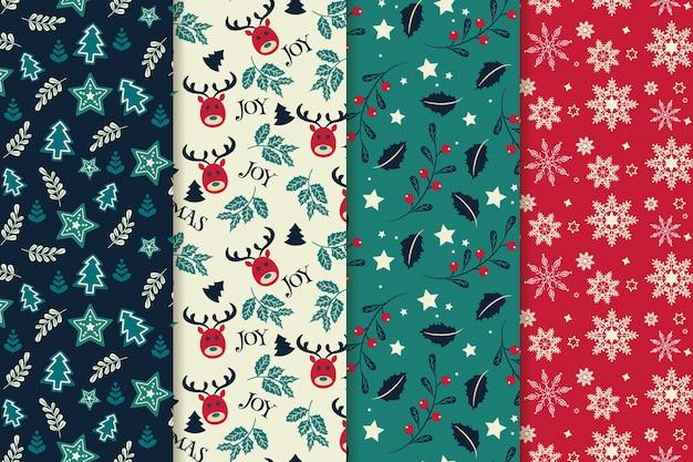Flat design christmas pattern set Premium Vector