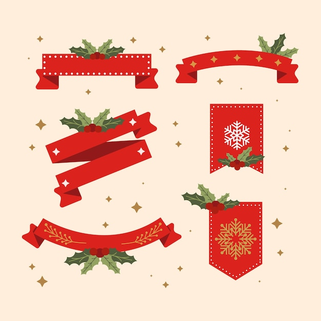 Flat design christmas ribbon collection Free Vector