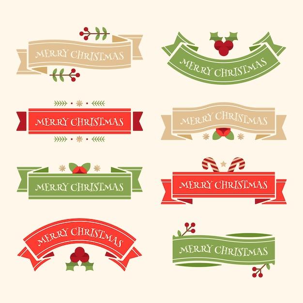 フラットなデザインのクリスマスリボンコレクション 無料ベクター