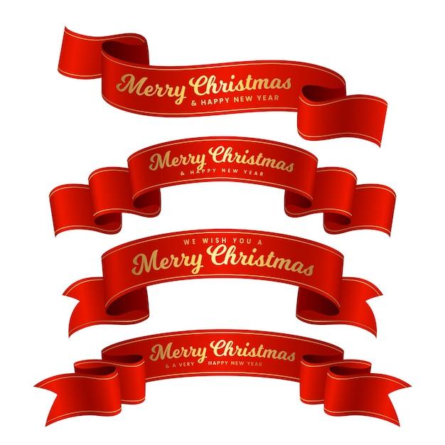 フラットデザインのクリスマスリボンコレクション Premiumベクター
