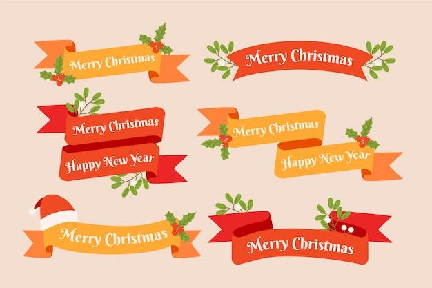 Рождественская коллекция лент в плоском дизайне Бесплатные векторы