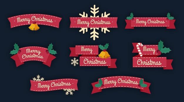 フラットデザインのクリスマスリボンコレクション 無料ベクター