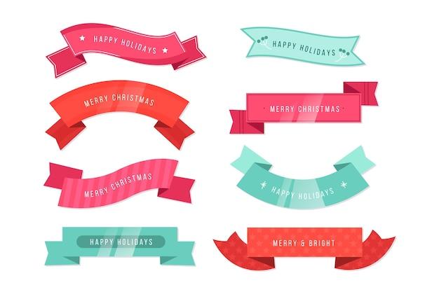 Set di nastri natalizi design piatto Vettore gratuito