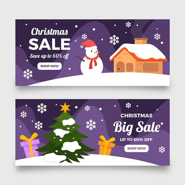 평면 디자인 크리스마스 판매 배너 서식 파일 프리미엄 벡터