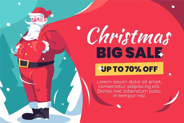 Flat design christmas sale banner template Free Vector