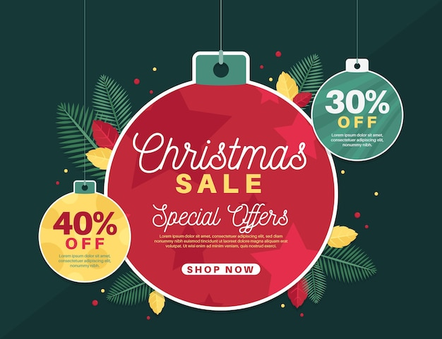 Flat design christmas sale banner with globes Free Vector