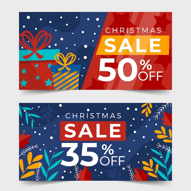 Flat design christmas sale banners template Free Vector