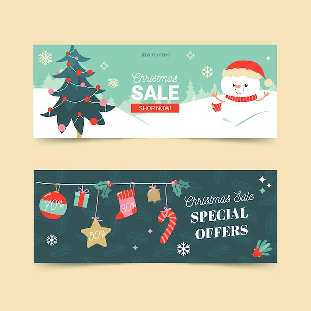 평면 디자인 크리스마스 판매 배너 서식 파일 무료 벡터