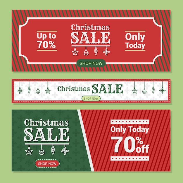 Flat design christmas sale banners Free Vector