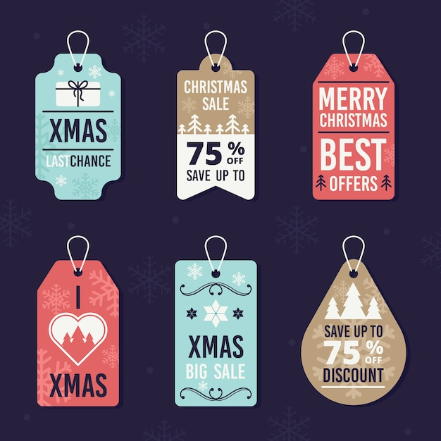 Flat design christmas sale tag collection Free Vector